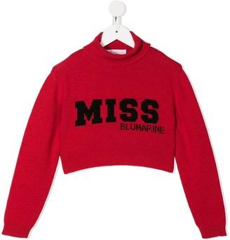 Miss Blumarine Cropped Logo Jumper