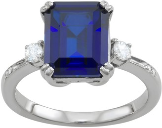 Charles & Colvard 14k White Gold Lab-Created Sapphire Engagement Ring with Lab-Created Moissanite Accents