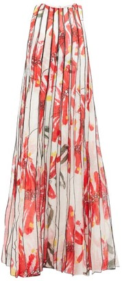 Aje Banksia Floral-print Pleated Linen-blend Dress - Womens - Red White