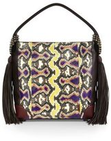 Christian Louboutin Eloise Empire Studded Snake-Print Leather Hobo Bag