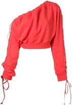 Unravel Project One-Shoulder Lace-Up Sweatshirt