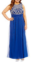 B. Darlin Plus High Neck Sleeveless Illusion-Yoke Beaded Bodice Long Dress