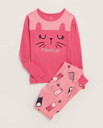 Pl Sleep (Girls) Two-Piece Snap Cat Tee & Pajama Pants Set