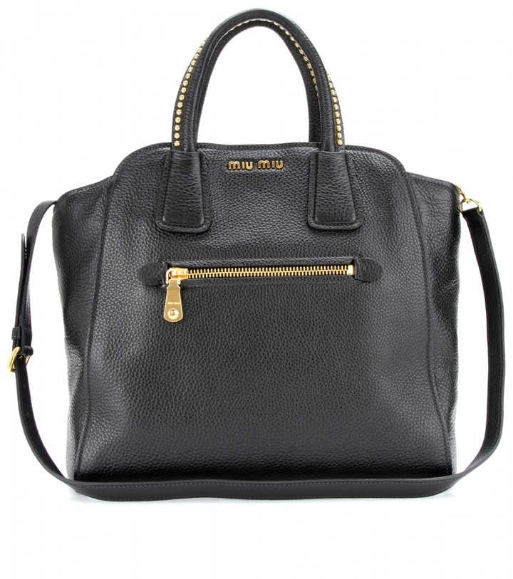Miu Miu Leather tote with studded handles