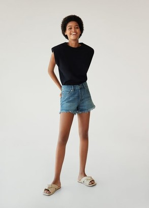 MANGO Frayed hem denim shorts