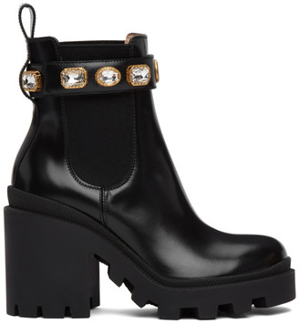 Gucci Black Crystal Chelsea Boots