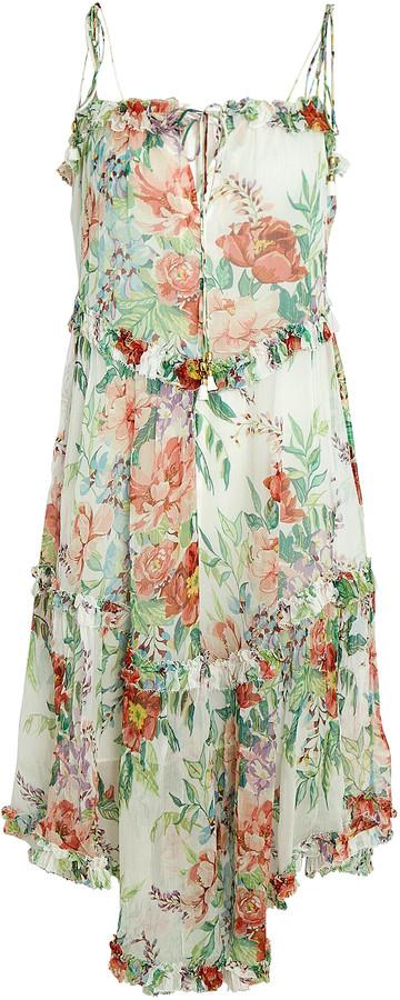 Zimmermann Bellitude Floral Tie-Shoulder Midi Dress