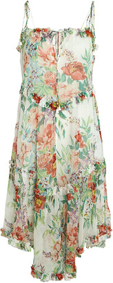 Zimmermann Bellitude Floral Tie-Shoulder Midi Dress