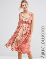Asos Midi Dress In Ombre Pretty Floral Print