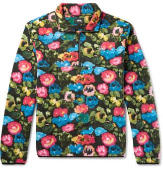 Stussy Logo-Embroidered Floral-Print Fleece Half-Zip Sweatshirt