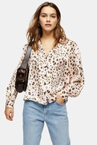 Topshop Womens Petite Golden Animal Print Shirt - Natural