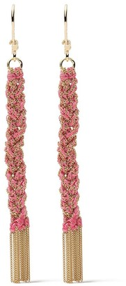 Carolina Bucci 18kt yellow gold and pink silk Lucky woven drop earrings