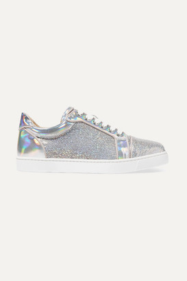Christian Louboutin Vierira Metallic Leather-trimmed Sequined Sneakers - Silver