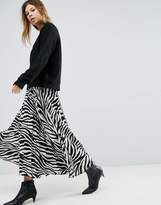 Asos Satin Pleated Midi Skirt in Zebra Print