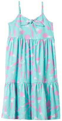 crewcuts by J.Crew Knot Front Dress (Little Kids/Big Kids) (Aqua/White/Pink) Girl's Dress