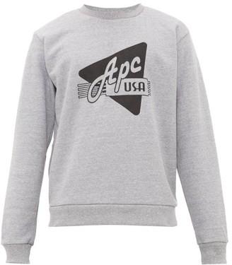 A.P.C. Logo-print Cotton Sweatshirt - Mens - Grey