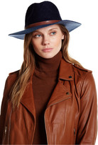 David & Young Two-Tone Faux Leather Band Panama Hat
