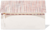 Clare Vivier Matilde fold-over textured-leather and checked woven clutch