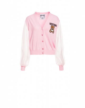 Moschino Cotton Cardigan Teddy Embroidery Woman Pink Size 40 It - (6 Us)