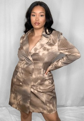 Missguided Plus Size Mocha Tie Dye Tailored Blazer Dress