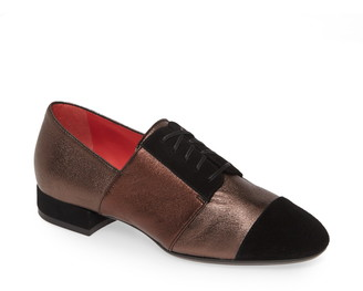 Pas De Rouge Daria Metallic Cap Toe Derby