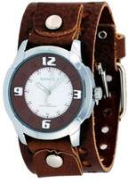 Nemesis #BB106B Men's 3-D Raised Index Brown Wide Leather Cuff Band Watch