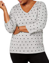 Karen Scott Plus Polka Dot Knit Top