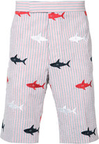 Thom Browne embroidered sharks striped bermudas - men - Cotton - 3