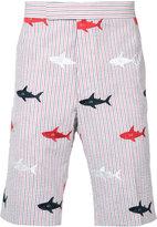 Thom Browne embroidered sharks striped bermudas - men - Cotton - 4
