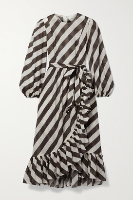 Zimmermann Lulu Belted Asymmetric Ruffled Striped Cotton-voile Dress - Brown
