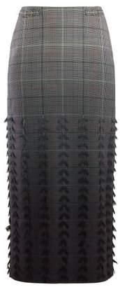 Gabriela Hearst Sabina Degrade Check Wool Blend Pencil Skirt - Womens - Grey Multi