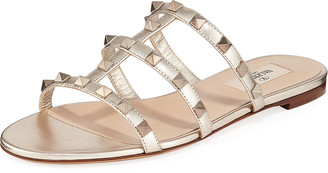 Valentino Rockstud Metallic City Flat Slide Sandals
