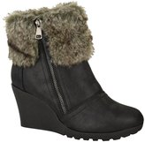 Fashion Thirsty Womens Winter Faux Fur Wedge Platform Ankle Boots Zip Fluffy Lined Shoes Size 6