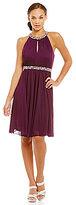 Jessica Howard Beaded Yoke Keyhole Neck Beaded Waistband Dress