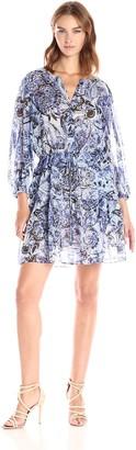 BCBGMAXAZRIA Azria Women's Kendra Woven Long Sleeve Blouson Tie Front Dress