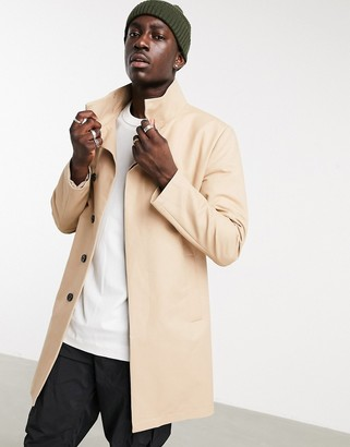 ASOS DESIGN trench coat with funnel neck in stone