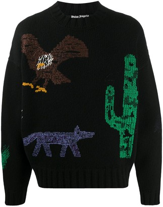Palm Angels New Folk embroidered jumper