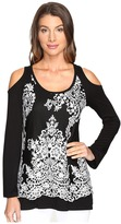 Karen Kane Lace Overlay Cold Shoulder Top Women's Clothing