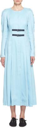 Gabriela Hearst Arianna Linen Raglan-Sleeve Dress
