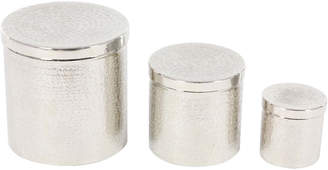 Uma Enterprises Set Of 3 Silver Hammered Aluminum Round Canisters W/ Lid