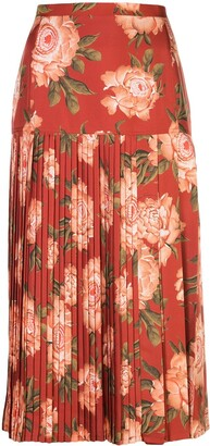 Salvatore Ferragamo Peonies Print Pleated Silk Skirt