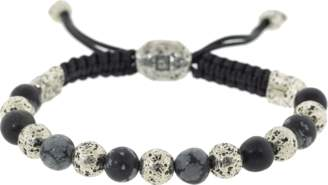 John Varvatos Gray Obsidian and Silver Bead Necklace