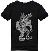 lividiy Men's DIY Short Sleeve Crew Neck Keith Haring T shirt Custom Tee