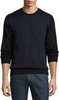 Brioni Geometric-Pattern Silk/Wool Sweater, Black/Blue