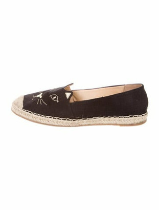 Charlotte Olympia Printed Embroidered Accent Espadrilles Black