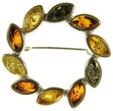 Cozmos Brooches BALTIC AMBER AND STERLING SILVER 925 DESIGNER MULTI-COLOURED FLOWER LEAF BROOCH PIN JEWELLERY JEWELRY