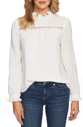 CeCe Lace & Ruffle Detail Long Sleeve Blouse