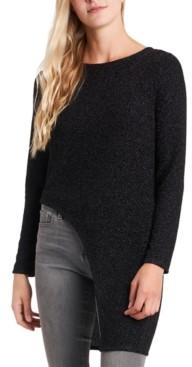 MSK Glitter-Knit Asymmetric-Hem Tunic Top