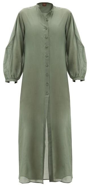 ALBUS LUMEN Levitas Balloon-sleeve Cotton-blend Maxi Dress - Green