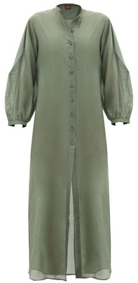 ALBUS LUMEN Levitas Balloon-sleeve Cotton-blend Maxi Dress - Green